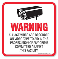"(4 Pack) Warning Video Surveillance Sign/Decal Self Adhesive ""5½ X 5½"" 4 Mil Vinyl Decal — Indoor & Outdoor Use — Uv Protected & Waterproof — Sleek, Rounded Corners"