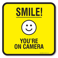 "(4 Pack) Smile You're on Camera Sign Self Adhesive ""5½ X 5½"" 4 Mil Vinyl Decal — Indoor & Outdoor Use — UV Protected & Waterproof — Sleek, Rounded Corners - Sigo Signs"