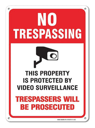 No Trespassing Sign - Video Surveillance Sign - Violators Will Be Prosecuted Legend 10 X 14 Rust Free Aluminum-UV Printed With Professional Graphics-Easy To Mount Indoors & Outdoors - Sigo Signs