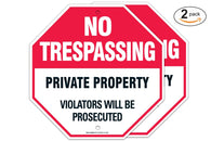 "(2 PACK) Private Property Sign - No Trespassing Sign - Violators Will Be Prosecuted ""Legend - Large 12 X 12 Octagon Rust Free 0.40 Aluminum Sign - Sigo Signs"