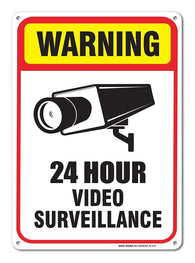 24 Hour Video Surveillance Sign 7 x 10 .40 Aluminum, For Indoor or Outdoor Use -USA Made Of Rust Free Aluminum-UV Printed With Professional Graphics-Easy To Mount Indoors & Outdoors By SIGO SIGNS - Sigo Signs