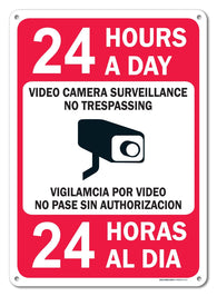"24 Hours A Day Video Camera Surveillance No Trespassing Sign, Federal 10""x14"" Aluminum, For Indoor or Outdoor Use - By SIGO SIGNS - Sigo Signs"