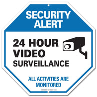 "Video Surveillance Sign - CCTV Security Alert - 24 Hour Surveilance All Activities Are Monitored Sign - Legend"" Large 12 X 12 Octagon Rust Free 0.40 Aluminum Sign - Sigo Signs"