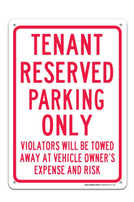 "Tenant Reserve Parking Sign ""Legend - Large 10 X 14 Square Rust Free 0.40 Aluminum Sign UV Printed With Professional Graphics-Easy To Mount Indoors & Outdoors - Sigo Signs"