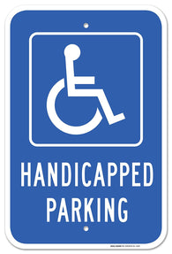 "Handicap Parking Sign - Federal 12""x18"" 3M Prismatic Engineer Grade Reflective Handicap Parking Sign Aluminum Blue on White - Sigo Signs"