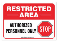 "(2 PACK) Restricted Area Sign, Large 10 X 7"" Vinyl Sticker, For Indoor or Outdoor Use - By SIGO SIGNS - Sigo Signs"