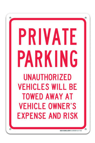 "Private Parking Sign ""Legend - Large 10 X 14 Square Rust Free 0.40 Aluminum Sign UV Printed With Professional Graphics-Easy To Mount Indoors & Outdoors - Sigo Signs"