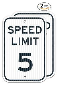 "(2 PACK) Speed Limit 5 MPH Sign, Federal 12"" X 18"" 3M EGP Prismatic Engineer Grade Reflective Aluminum, For Indoor or Outdoor Use - Made in the USA - By SIGO SIGNS - Sigo Signs"