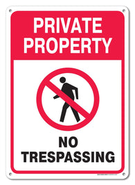 "Private Property No Trespassing Sign, Federal 10""x14"" Aluminum, For Indoor or Outdoor Use - By SIGO SIGNS - Sigo Signs"