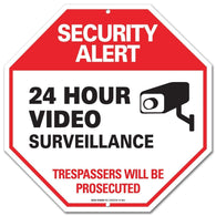 Warning Security Alert Sign - Video Surveillance Sign - No Trespassing Sign Rust Free Aluminum-UV Printed With Professional Graphics-Easy To Mount Indoors & Outdoors - Sigo Signs