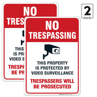 (2 PACK) No Trespassing Sign - Video Surveillance Sign - Violators Will Be Prosecuted Legend 10 X 14 Rust Free Aluminum-UV Printed With Professional Graphics-Easy To Mount