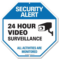 "24 Hour Surveilance All Activities Are Monitored Sign - Video Surveillance Sign - CCTV Security Alert - Legend"" Large 12 X 12 Octagon Rust Free 0.40 Aluminum Sign - Sigo Signs"