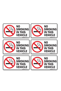 "(6 Pack) No Smoking In This Vehicle Sign, Large 1.5"" X 3"" Vinyl Stickers, For Indoor or Outdoor Use - By SIGO SIGNS - Sigo Signs"