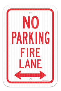 "No Parking Fire Lane Sign, Federal 12""x18"" 3M Prismatic Engineer Grade Reflective Aluminum, For Indoor or Outdoor Use - By SIGO SIGNS"