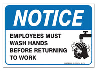 "(2 PACK) Employees Must Wash Hands Sign, Large 10 X 7"" Vinyl Stickers, For Indoor or Outdoor Use - By SIGO SIGNS - Sigo Signs"