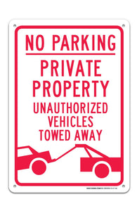 "No Parking Private Parking Sign ""Legend - Large 10 X 14 Square Rust Free 0.40 Aluminum Sign UV Printed With Professional Graphics-Easy To Mount Indoors & Outdoors - Sigo Signs"