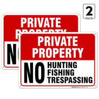 "(2 PACK) No Hunting No Fishing No Trespassing Sign Private Property, Large 14 X 10"" Aluminum, For Indoor or Outdoor Use - USA Made Of Rust Free Aluminum-UV Printed"