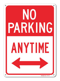 "No Parking Anytime Sign, Large 10 X 14"" Aluminum, For Indoor or Outdoor Use - By SIGO SIGNS"