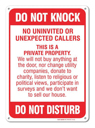 "No Soliciting Sign - Do Not Knock - Do Not Disturb Sign - 10"" high x 7"" wide, Red on White, Rust Free Aluminum Sign - Sigo Signs"