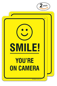 (2 PACK) Smile You're on Camera - Funny Video Surveillance Sign 10 X 14 Rust Free .40 Rust Free Aluminum-UV Printed With Professional Graphics-Easy To Mount Indoors & Outdoors - Sigo Signs
