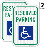 "(2PACK) Handicap Parking Sign - With Picture Of Wheelchair Federal 12""x18"" Aluminum 3M EGP Prismatic Engineer Grade Reflective Handicap Parking Sign"