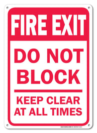"Fire Exit Do Not Block Keep Clear At All Times Safety Sign, Federal 10""x7"" Aluminum, For Indoor or Outdoor Use - By SIGO SIGNS - Sigo Signs"