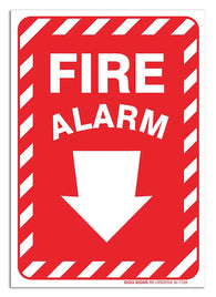 "(2 Pack) Fire Alarm Sign With Arrow, Large 10 X 7"" Vinyl Stickers, For Indoor or Outdoor Use - By SIGO SIGNS - Sigo Signs"