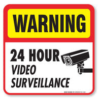 "(4 Pack) 24 hour Video Surveillance Sign/Decal Self Adhesive "" 5½ X 5½"" 4 Mil Vinyl Decal — Indoor & Outdoor Use — UV Protected & Waterproof — Sleek, Rounded Corners"