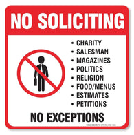 "(4 Pack) No Soliciting Sign - Decal Self Adhesive ""5½ X 5½"" 4 Mil Vinyl Decal - Indoor & Outdoor Use - UV Protected & Waterproof - Sleek, Rounded Corners - Deters Solicitors - Sigo Signs"