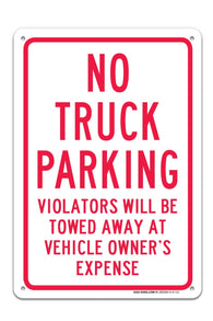 "No Truck Parking Sign ""Legend - Large 10 X 14 Square Rust Free 0.40 Aluminum Sign UV Printed With Professional Graphics-Easy To Mount Indoors & Outdoors - Sigo Signs"