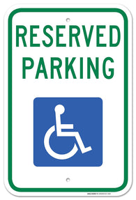 "Handicap Parking Sign - Federal 12""x18"" 3M Prismatic Engineer Grade Reflective Handicap Parking Sign Aluminum Green Blue on White - Sigo Signs"