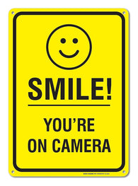 Smile You're on Camera - Funny Video Surveillance Sign 10 X 14 Rust Free .40 Rust Free Aluminum-UV Printed With Professional Graphics-Easy To Mount Indoors & Outdoors - Sigo Signs