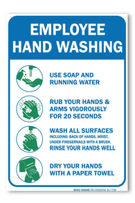 "(2 PACK) Employees Hand Washing Sign, Large 10 X 7"" Vinyl, For Indoor or Outdoor Use - By SIGO SIGNS - Sigo Signs"