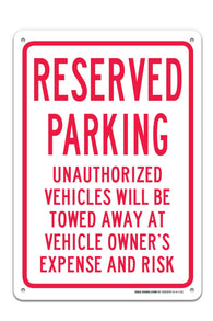 "Reserved Parking Sign ""Legend - Large 10 X 14 Square Rust Free 0.40 Aluminum Sign UV Printed With Professional Graphics-Easy To Mount Indoors & Outdoors - Sigo Signs"