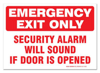 "(2 Pack) Emergency Exit Only Sign, Self Adhesive 7 X 10"" 4 Mil Vinyl Decal - Indoor & Outdoor Use - UV Protected & Waterproof - Sleek - Sigo Signs"