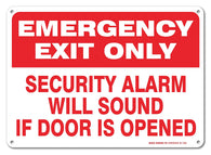 "Emergency Exit Only Security Alarm Will Sound If Door is Opened Sign, Large 10 X 7"" Aluminum, For Indoor or Outdoor Use - By SIGO SIGNS - Sigo Signs"