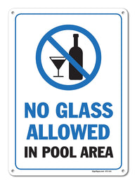 "Pool Signs - No Glass Allowed in Pool Area Sign - Pool Rules - Large 10 X 14"" Aluminum, For Indoor or Outdoor Use - By SIGO SIGNS - Sigo Signs"
