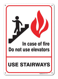 "In Case Of Fire Do Not Use Elevators Sign, Large 10 X 7"" Aluminum, For Indoor or Outdoor Use - By SIGO SIGNS - Sigo Signs"