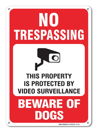 "No Trespassing This Property is Protected by Video Surveillance Beware of Dogs Sign, Large 10 X 14"" Aluminum, For Indoor or Outdoor Use - By SIGO SIGNS - Sigo Signs"