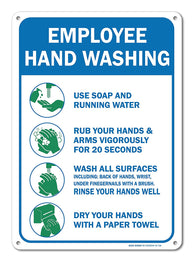 "Employees Hand Washing Sign, Large 10 X 7"" Aluminum, For Indoor or Outdoor Use - By SIGO SIGNS - Sigo Signs"