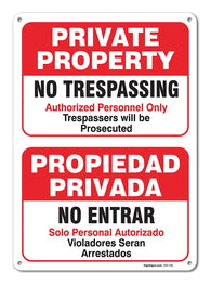 "Private Property No Trespassing Sign, Large 10 X 14"" Aluminum, For Indoor or Outdoor Use - By SIGO SIGNS"