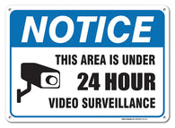 24 Hour Video Surveillance Sign By SigoSigns- Avoid Intruders Using Large 10 x 14 Inch Warning-USA Made Of Rust Free Aluminum-UV Printed With Professional Graphics-Easy To Mount Indoors & Outdoors - Sigo Signs