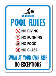 Pool Sign - Swimming Pool Rule Sign - 14 x10 Blue, Red, Black on White Rust Free Aluminum Sign - Sigo Signs