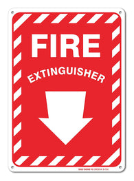 "Fire Extinguisher Sign With Arrow, Large 10 X 7"" Aluminum, For Indoor or Outdoor Use - By SIGO SIGNS - Sigo Signs"