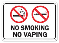 "No Smoking No Vaping Sign, Large 10 X 7"" Aluminum, For Indoor or Outdoor Use - By SIGO SIGNS - Sigo Signs"
