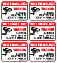 "(6 Pack) Video Surveillance Sign - Decal Self Adhesive "" 2½ X 3½"" 4 Mil Vinyl Decal — Indoor & Outdoor Use — UV Protected & Waterproof — Sleek, Rounded Corners - Sigo Signs"