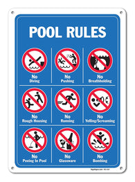 "Pool Signs - Pool Rules Sign With Graphics- Large 10 X 14"" Aluminum, For Indoor or Outdoor Use - By SIGO SIGNS - Sigo Signs"
