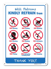 "Pool Signs - Will Patrons Kindly Refrain Pool Sign - Pool Rules - Large 10 X 14"" Aluminum, For Indoor or Outdoor Use - By SIGO SIGNS - Sigo Signs"