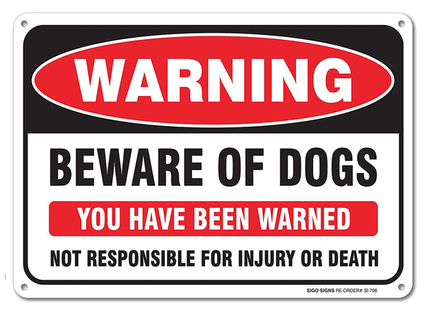 "Beware of Dog Sign, Large 10x7"" Aluminum, For Indoor or Outdoor Use - By SIGO SIGNS - Sigo Signs"