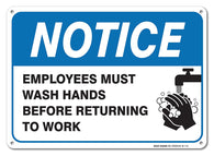 "Employees Must Wash Hands Sign, Large 10x7"" Aluminum, For Indoor or Outdoor Use - By SIGO SIGNS - Sigo Signs"